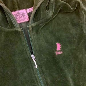 Juicy Couture Matching Sets - Juice Couture velour dark green hoodie set.